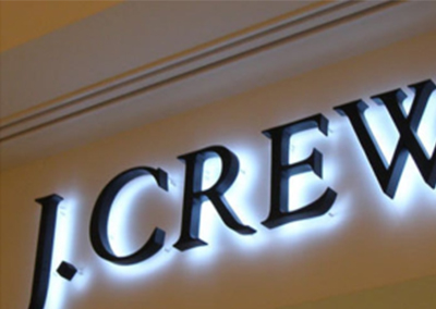 J Crew Channel Letters that's backlit